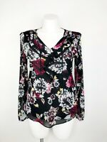 White House Black Market Women's Floral Long Sleeve Ruffle Sheer Top Size Large