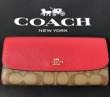 Coach Soft Envelope Wallet Colorblock Signature 2020 Year of Rat Red F88100 New