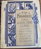 antica PERGAMENA DI RICONOSCIMENTO -1936 -GRAFICA FASCISTA -ISTITUTO SAN MICHELE