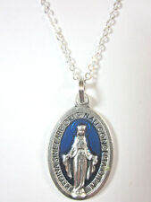 """Latin Miraculous Medal 1"""" Blue Enamel Italy Pendant Necklace 20"""" Chain"""