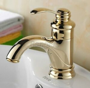 Gold Color brass Hot/Cold Single Hole Sink Water Tap Wash Basin Faucet 8nf230