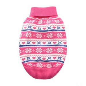 Doggie Design Combed Cotton Snowflake and Hearts Dog Sweater - Pink