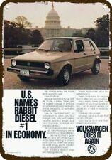 1979 VOLKSWAGEN RABBIT VW Diesel at WASHINGTON CAPITOL Vintage Look METAL SIGN