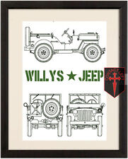 Military WW2 Willy's Jeep High Quality A4 Poster ( Marines World war 2