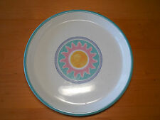 "Dansk Japan COSTA DEL SOL Set of 4 Dinner Plates 10 3/8"" Yellow Pink Sun"