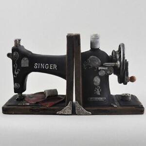 Vintage Singer Sewing Machine Shelf Tidy Book Ends - Heavy Storage Retro