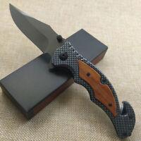 8.3'' Pocket Folding Knife 440C Blade Wood Handle Tactical Knives