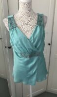 Pretty NEXT Teal Turquoise Beaded Party Top Size 18 Holidays Cruise Evenings
