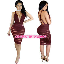 USA Women Ladies  Summer See Thu Deep V-Neck Body con Evening Party Mini Dress