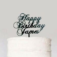 Custom Black Happy Birthday Cake Topper, Cursive Calligraphy Name Monogram Cake