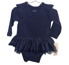Cat & Jack Baby Girl 6-9 Months Blue Sparkle Tutu One Piece Long Sleeve Ruffle