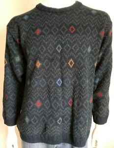 MARKS & SPENCER mens size Large jumper knit green Cosby style sweater patterned