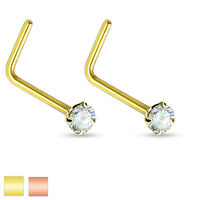 Pair 2mm CZ Rose Gold Gold IP Surgical Steel L-Bend Nose Stud Ring Piercing 20g