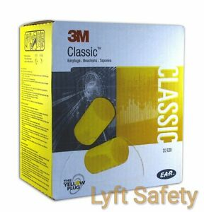 Ear Plugs 3M E-A-R Classic Noise Reduction 29dB Yellow Foam One Use 25/PACK