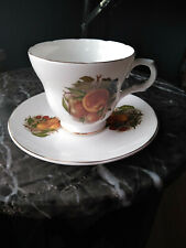 Crown Trent Staffordshire Englad Fine China Cup & Saucer Peaches Grapes Pear