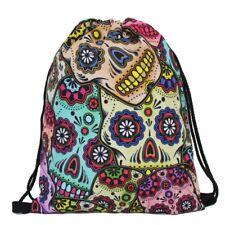 Drawstring Sugar Skull Backpack Day of the Dead book bag tote bag- USA Seller