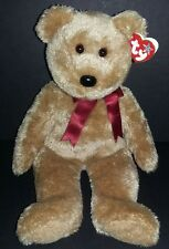 Ty Beanie Buddy Curly Bear With Tush Tag of 2002 Retired Brown Maroon Bow