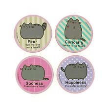 PUSHEEN 4 COASTER SET DRINKS MAT CAT EMOTIONS CARTOON KITTEN COMIC PETS OFFICIAL