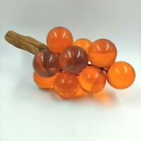 Vintage Orange Grape Cluster Lucite Glass on Driftwood 1970's Free Shipping