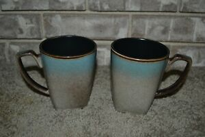 Lot of 2 Gibson Elite Tequesta Stoneware Tan & Taupe Coffee Cups Mugs MINT!!!