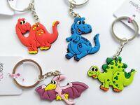 4 Dinosaur Keychains PVC BOYS GIRLS PARTY BAG TOYS CLEARANCE BARGAIN JOB LOT