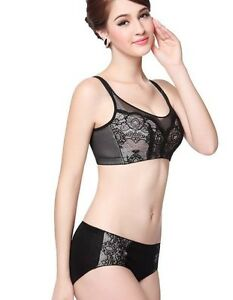 Elegant Mesh/Lace Breastfeeding Nursing Bra/Bra set black 34-42D-DD