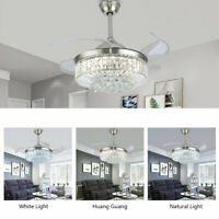 "36""/42"" Crystal Chandelier Ceiling Fan LED Light Remote Fandelier 3 Color change"