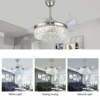 """36""""/42"""" Crystal Chandelier Ceiling Fan LED Light Remote Fandelier 3 Color change"""