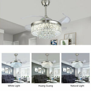 """36""""/42"""" Crystal Ceiling Fan Chandelier w/ Led Light Remote Retractable Blade Hot"""