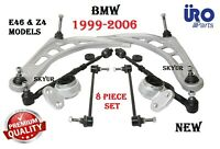 Front Suspension 8-PC Control Arms Bushings Tie Rods Sway Bar Links For BMW E46