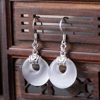 925 Solid Sterling Silver Dangle Earrings Natural White Chalcedony Earrings