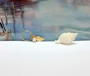 Cartilage Leaf Opal Earring, Cartilage Earring, Tiny Leaf Gold Hoop, Gold Hoop