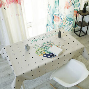 Abstract Rectangle Dining Tablecloth Circles Printed Table Cover Table Cloth HD