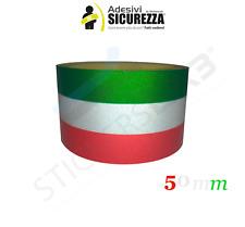 Adesivi striscia TRICOLORE RIFRANGENTE fascia bandiera Italiana 5cm x 1 Metro