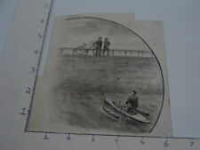 1800's ZIMER CYCLE BOAT -- Drawing -- BOAT & BIKE signed IA