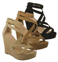 Black Nude Beige Tan Criss Cross Platform Ankle Strap Wedges Heel Sandals Shoes
