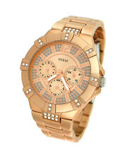 NEW-GUESS ROSE GOLD TONE,S/STEEL,MULTI FUNCTION,CRYSTAL, BRACELET WATCH U12657L3