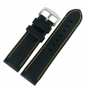 Waterproof Line Stitching Black Silicone Watch Strap Wrist Band 20/22/24/26mm
