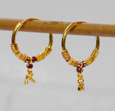 22k Yellow Gold Plated Small Hoop Earrings.25mm Indian kapa Style