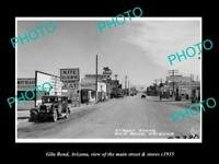 OLD POSTCARD SIZE PHOTO GILA BEND ARIZONA THE MAIN STREET & STORES c1935