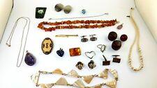 schmuck Konvolut  silber Modeschmuck perlen Bernstein Edelstein 190 gram