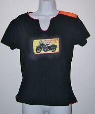 WOMENS HARLEY DAVIDSON MOTORCYCLES T-SHIRT BLACK GRAPHIC TEE SHIRT SIZE MEDIUM