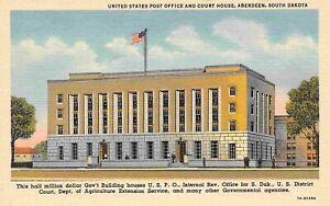 Post Office US District Court House Aberdeen South Dakota linen postcard