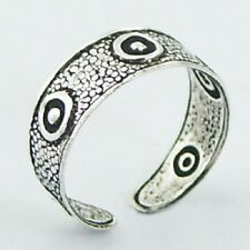 Toe Ring circles Antiqued 5mm wide 925 Solid Genuine Sterling Silver Adjustable