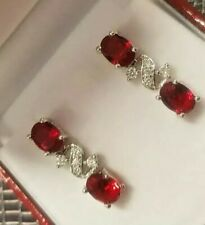 White gold finish Red ruby and created  diamond droplet earrings gift boxed