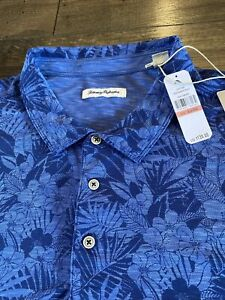 NEW Men's Tommy Bahama Sport Palmetto Polo Shirt 3XLB 3XL Big Hawaiian $130 Blue