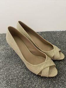 ASOS Heels Gold Sparkly Glittery Slip On Open Toe Stiletto Court Shoes UK 6