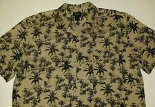 Bass G.H.Bass & Co 100% Silk Shirt Mens XL Button Front Palm Tree Hawaiian style