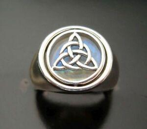 Silberring Celtic Trinity mit Mondstein 925er Sterling Silber Größe: 12/52