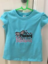 Girls Shirt Size 2 Blue Novelty Gift Embroidered